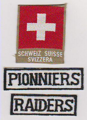 Swiss Scout National badge plus two obsolete section strips