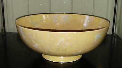Shimmering Art Deco Large Yellow Ruskin Mottled Lustre Footed Bowl C 1927