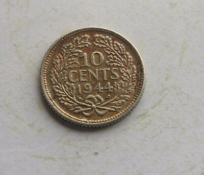 Netherlands, 10 Cents (silver) 1944 in Good Condition.