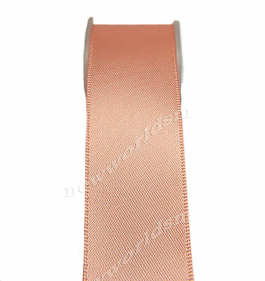 "6y 38mm 1 1/2"" Peach  Single Faced Satin Ribbon Premium Eco Gift FREE PP"
