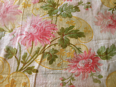 Antique Rare French Mum Floral Clover Lawn Cotton Fabric ~ Pink Yellow Green