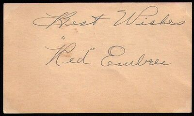 1949 Red Embree St. Louis Browns Indians VINTAGE SIGNED GOVERNMENT POSTCARD GPC