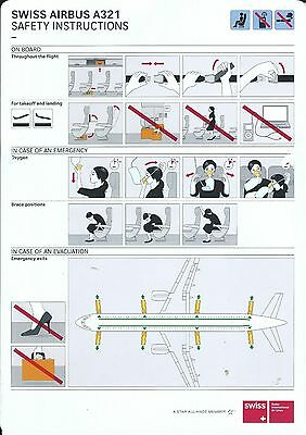 Safety Card - Swiss - A321 - c2008 (S2914)