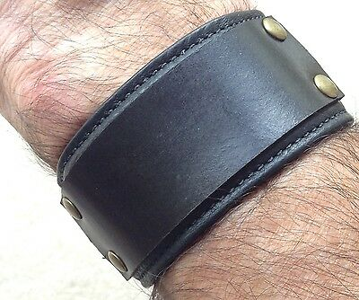 Black  leather wrist band martial arts bracelet cuff.
