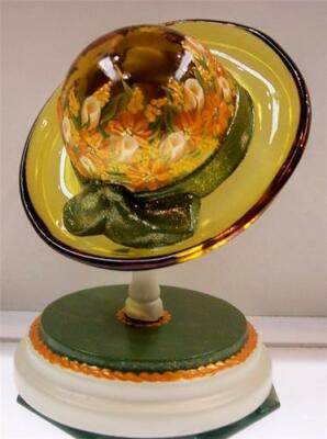 Fenton HAT WITH HP Matching STAND Autumn Gold with ORANGE ROSEBUDS & MUMS * OOAK