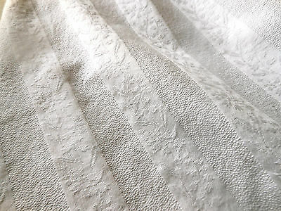 Antique French Provence Damask Lily Valley Floral Stripe Cotton Fabric ~ rare