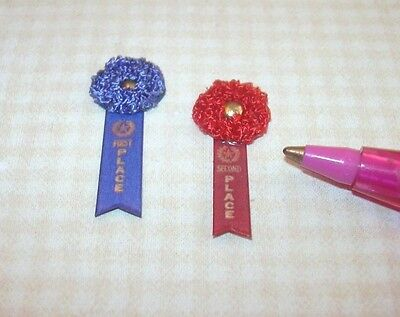 Miniature Fancy Winning Ribbons 1st/2nd for DOLLHOUSE 1/12 Scale Miniatures