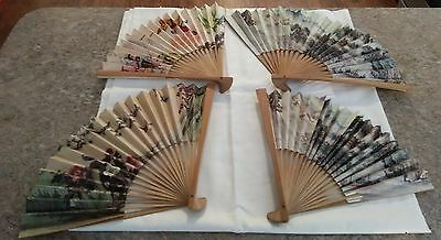 Vintage Wood and Paper Hand Fans