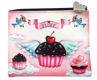 # New FLUFF Coin Purse Bag Pouch PINK CUPCAKE Angel Wings CHOCOLATE CHERRY BIRDS