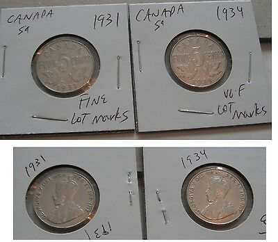 Canada--12 coins, mostly nickels---1931--1955--B