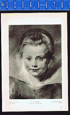 Portrait of a Young (Head a Little) Girl -  Peter Paul Rubens - 1939 Rotogravure