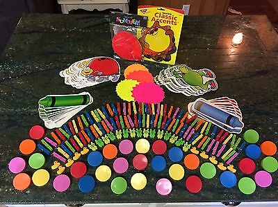 Large Lot Of Teacher Bulletin Board Cut-outs And Clothes pins/paper Clips. FUN!!
