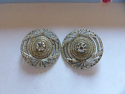 Pair of vintage large round diamante encrusted brooches make 1 good one WL52-19