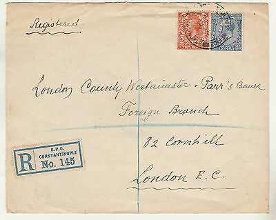 British Po Constantinople 1921 Kgv Registered Cover To England