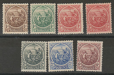 Barbados 1921 Kgv Seahorses Range To 6D Plus 1D Shade