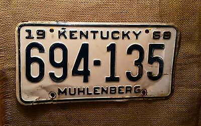 1968 Kentucky Automobile License Plate Tag Hot Rod Muhlenberg County 694-135