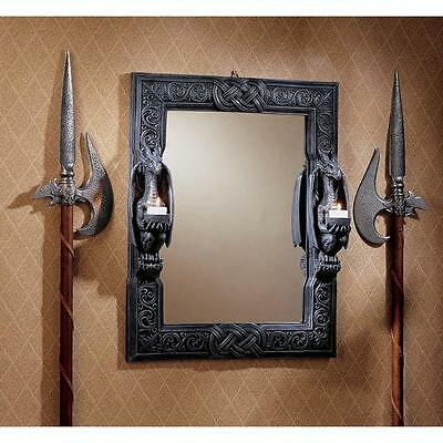 Medieval Gothic Twin Dragons Candle Holder Celtic Knot Wall Mirror