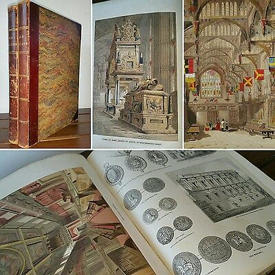 1845 1ST Edn Set OLD ENGLAND 2500 Wood Engravings LITHOGRAPHIC COLOUR PLATES
