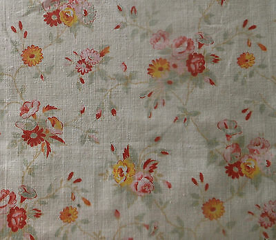 Antique Vintage Petite Roses Cotton Fabric ~ Sage Tangerine Yellow Pink Red