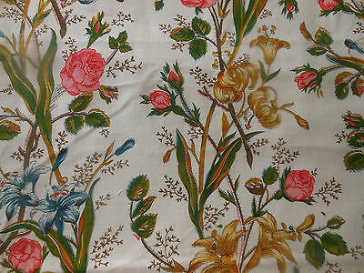 Vintage Retro French Provincial Roses Floral Brocade Fabric ~Gold Green 18thc Lk