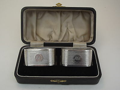 Excellent Boxed Pair HM Silver Napkin Rings (278a) - Birm 1930 S Blanckensee