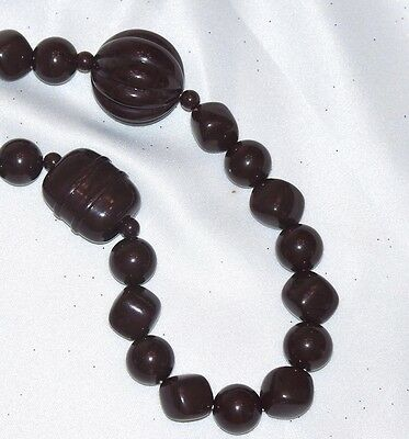 Vintage Chunky 70's  Brown Bead Necklace #454