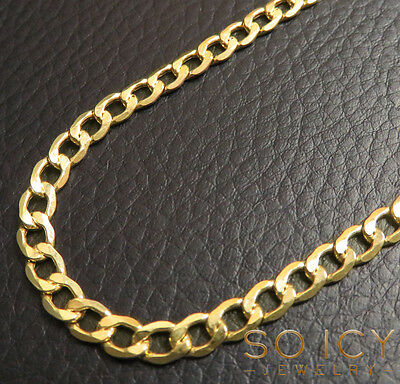 "18-26"" 4.5mm 10k Yellow REAL Gold Miami Cuban Curb Lite Chain Necklace Mens"
