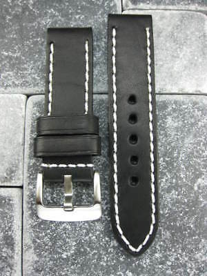 24mm PAM 1950 NEW COW LEATHER STRAP Black Watch Band White 24 mm Tang Buckle