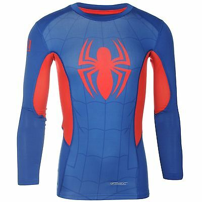Sondico Marvel Spiderman Baselayer Shirt Juniors Blue/Red Sports Compression Top