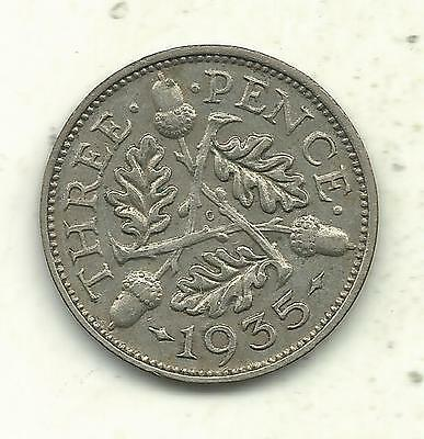 Very Nice Higher Grade 1935 Great Britain 3 Pence Silver Coin-Sep706