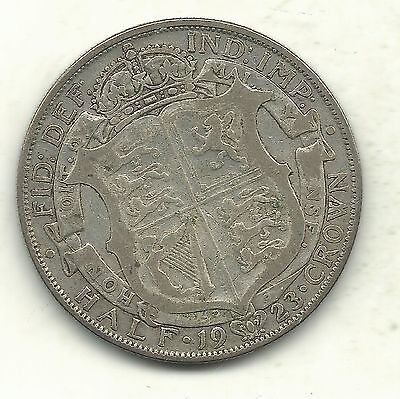 Very Nice 1923 Great Britain 1/2 Half Crown Silver Coin-Sep707