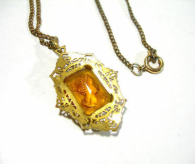 Antique Victorian Brass Gold Tone Filigree Pressed Glass Cameo Vintage  Necklace
