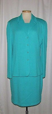 St John Collection Green Turquoise Slvless Knit Sheath Dress & Button Jkt 14/16