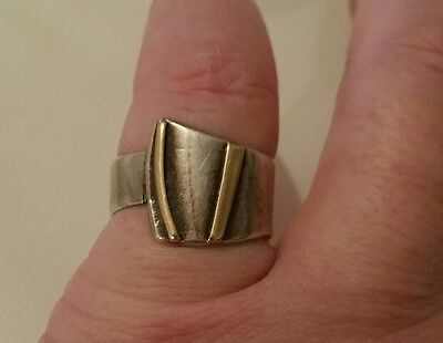 Vintage sterling silver and gold handmade ring