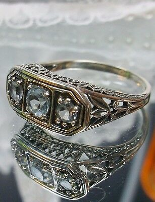 Natural Blue Topaz Sterling Silver Lilly Filigree Edwardian/Deco Ring Size: 6