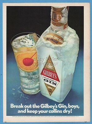 1973 Break out the Gilbey's Gin boys and keep your Tom Collins dry cocktail ad