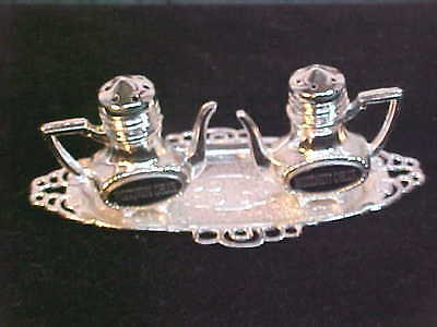 Wisconsin Dells Coffee Pot Shaped Salt & Pepper Shakers & Tray-Free Shipping