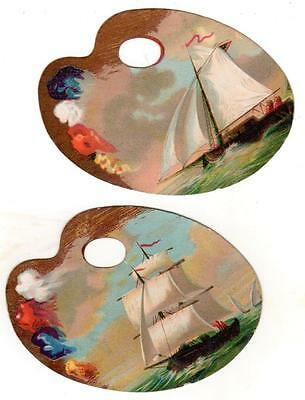 Lot of 2 1880s Die-Cut Artist Palette SCRAP CARDS with SAILING SHIPS