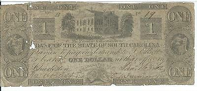 1862 Bank of State South Carolina Charleston $1 Low Serial # 19 State House Note