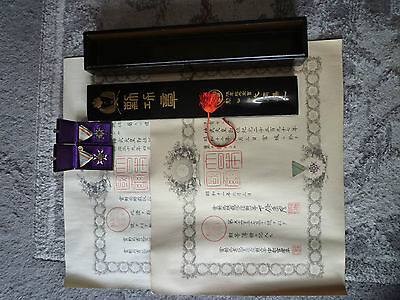 Japanese Original Lacquer Wooden Box w/medalMilitary badge army navy WAR