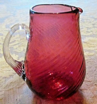 Antique Hand Blown Cranberry Glass Creamer Pitcher Swirled Ribbed Applied Handle