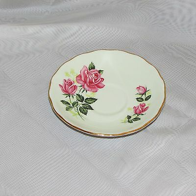VINTAGE COLCLOUGH BONE CHINA SAUCER PALE PASTEL GREEN PINK ROSE GOLD RIM no cup