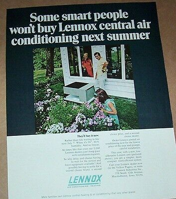 1970 vintage ad - Lennox Air Conditioning cute little girl flowers PRINT Advert