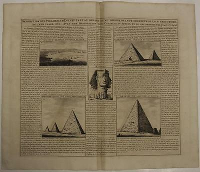 Pyramids & Sphinx Giza Cairo Egypt 1719 Chatelain Antique Copper Engraved View