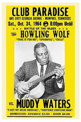 Blues Masters:  Howling Wolf & Muddy Waters at Club Paradise Concert Poster