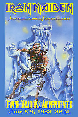 Metal:  Iron Maiden  7th Tour of a 7th Tour  Irvine Meadows Concert Poster 1988