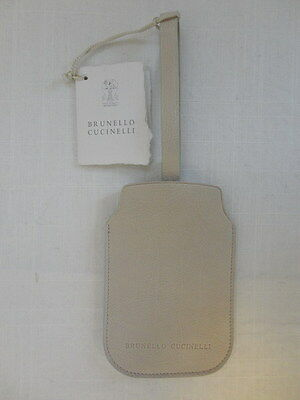 NWT BRUNELLO CUCINELLI Bone 100% Leather Luggage Briefcase Tag One Size OS