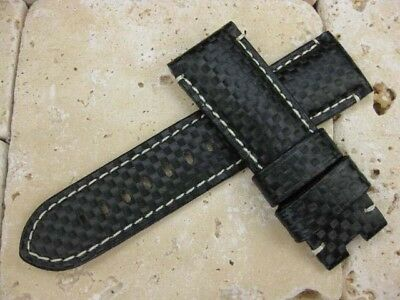 24mm Carbon Fiber Deployment Leather Extra Large Strap XL Band Pam 1950 LG