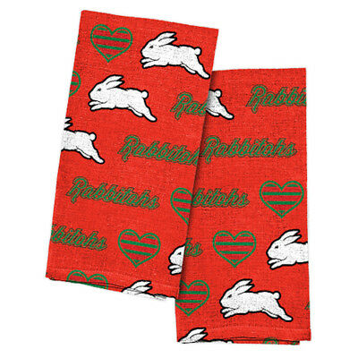South Sydney Rabbitohs NRL Team Logo and Coloured Tea Towels (2 pack)