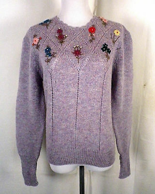 vtg 70s 80s Woolrich 100% wool Knit Colorful Floral Sweater Jumper cutout M